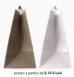 Shopper Fondo Largo Carta Bianco - Avana 26x16x31