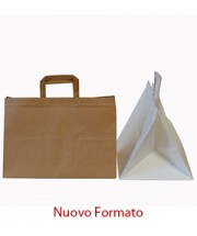 Shopper Fondo Largo Carta Bianco - Avana 35x23x25